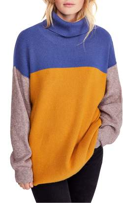 Free People Colorblock Turtleneck Sweater