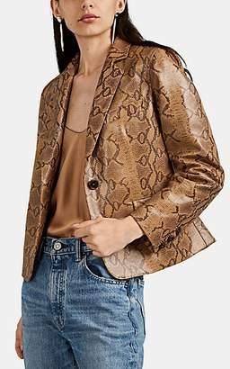 Nili Lotan Women's Python-Embossed Leather Crop Blazer - Brown