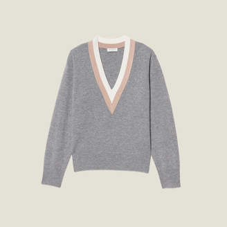 Sandro Knitted Sweater With Wide Two-Tone Trim
