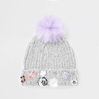 River Island Girls grey sequin embellished beanie hat