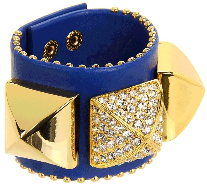 Juicy Couture Perfectly Gifted Pave Pyramid Leather Cuff Bracelet (Bright Cerise) - Jewelry