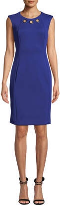 Iconic American Designer Sleeveless Sheath Dress with Gold Detailing at Neck