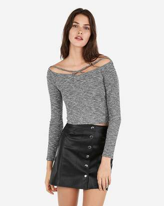 Express One Eleven Strappy Rib Off The Shoulder Tee