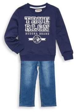True Religion Little Boy's Two-Piece Branded Cotton Pullover and Jeans Set