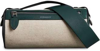 Burberry The Cotton Linen and Leather Barrel Bag