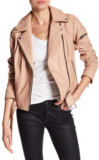 7 For All Mankind7 For All Mankind Leather Asymmetricla Moto Jacket