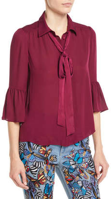 Alice + Olivia Maxima Ruffle-Sleeve Button-Front Silk Blouse