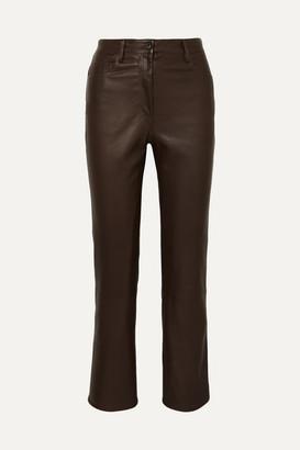 The Row Charlee Leather Straight-leg Pants - Brown