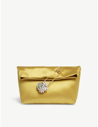 Burberry Umber Yellow Pin Satin Clutch Bag