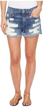 7 For All Mankind Cut-Off Short w/ Aggressive Destroy in Serratoga Bay Women's Shorts