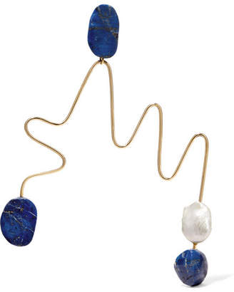 Gold-tone, Jasper And Pearl Earring - Blue
