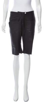 Harvey Faircloth Knee-Length Leather Shorts Black Knee-Length Leather Shorts