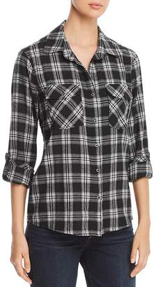 Billy T Plaid Flannel Lace-Up Top