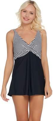 Isaac Mizrahi Live! Striped Swim Dress