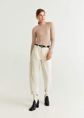MANGO Ribbed knit sweater light/pastel grey - XS - Women