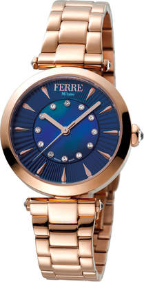 Ferré Milano Women's 32mm Stainless Steel 3-Hand Watch with Bracelet, Rose/Blue