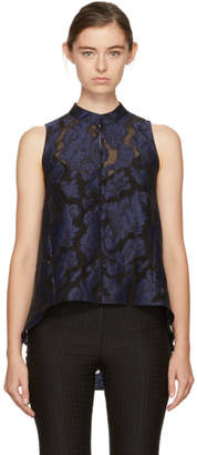 Erdem Black and Navy Kianna Tank Top