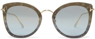 Tom Ford Charlotte Oversized Cat Eye Acetate Sunglasses - Womens - Blue