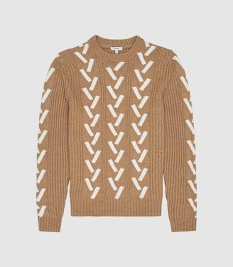 Reiss Bronson - Colour Block Knit Jumper in Camel