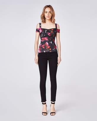 Nicole Miller Fragment Floral Cold Shoulder Top