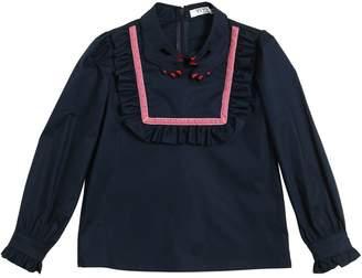 Hand Collar Cotton Poplin Shirt