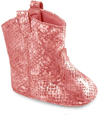 Baby Girl Wee Kids Pink Faux Snakeskin Western Boot Crib Shoes