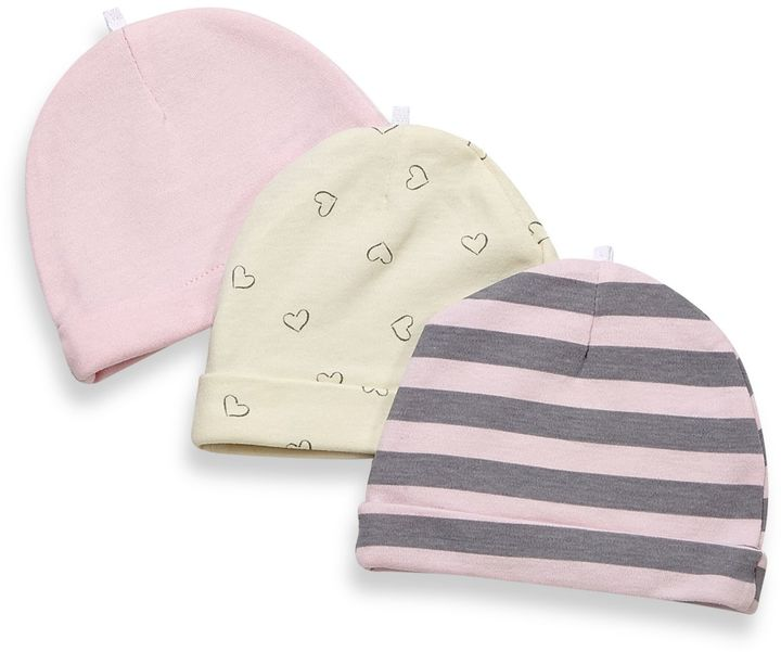 Bed Bath & Beyond Sterling Baby 3-Pack Cap Set in Pink/Grey