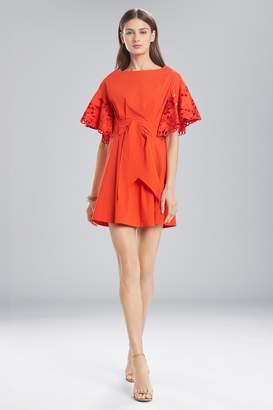 Natori Josie Cotton Shirting Ruffle Sleeve Dress
