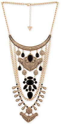 """GUESS Gold-Tone Jet Stone Statement Necklace, 16"""" + 2"""" extender"""