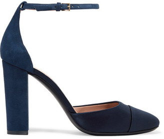 Tory Burch - Rousseau Suede And Satin Pumps - Navy $375 thestylecure.com