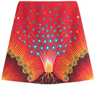 Valentino Volcano Mini Skirt with Virgin Wool and Silk