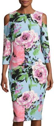 JAX Cold-Shoulder Floral Midi Dress, Multi Pattern $99 thestylecure.com