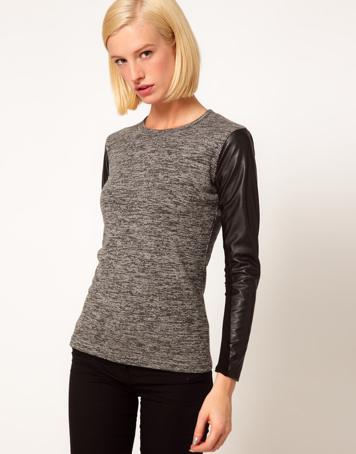 Asos Top in Knit with Leather Look Sleeves