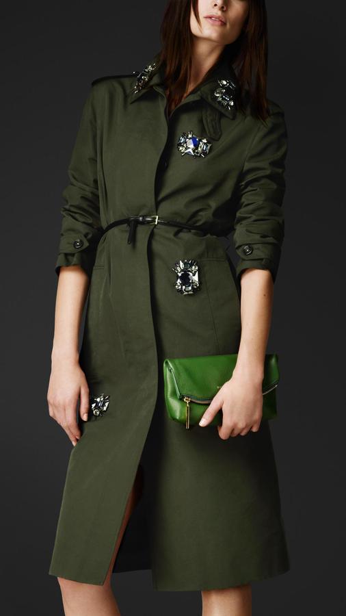Burberry Gem-Embellished Cotton Silk Coat