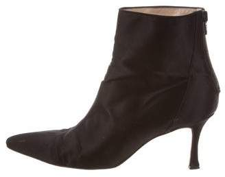 Manolo Blahnik Satin Pointed-Toe Ankle Boots