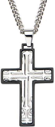 JCPenney FINE JEWELRY Inox Mens Stainless Steel Black Rim Cross Pendant Necklace