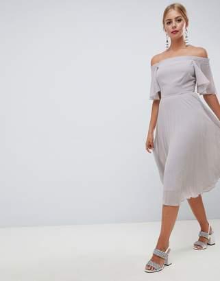 Asos DESIGN off shoulder pleated midi dress