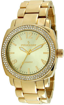 Peugeot Womens Crystal-Accent Gold-Tone Boyfriend Bracelet Watch