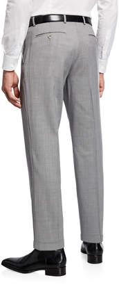 Neiman Marcus Wool Straight-Leg Trousers