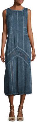 XCVI Long Paneled Denim Tank Dress, Blue, Plus Size $195 thestylecure.com
