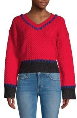 Cable-Knit Contrast-Stitched Sweater