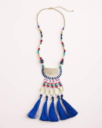Chico's Chicos Colorful Seed Bead Tassel Pendant Necklace