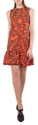 Akris Punto Sleeveless High-Neck Tropical-Leaves Jacquard Sheath Dress