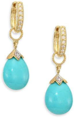 Jude Frances Lisse Turquoise, Diamond & 18K Yellow Gold Pear Briolette Earring Charms