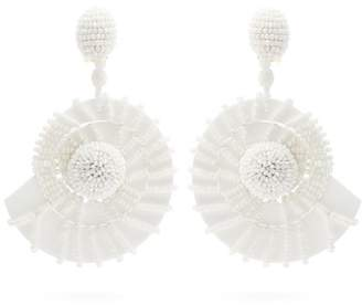 Oscar de la Renta Bead Embellished Seashell Drop Earrings - Womens - White