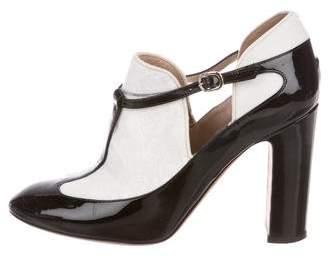 Valentino Patent Leather Round-Toe Booties