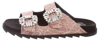 Roger Vivier Embellished Lace Slide Sandals