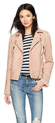 Members Only Women's Faux Suede Biker Jacket