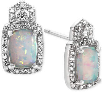 Macy's Lab-Created Opal (1 ct. t.w.) and White Sapphire (1/5 ct. t.w.) Stud Earrings in Sterling Silver