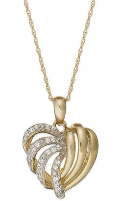 Wrapped in Love 14k Gold Diamond Heart Pendant Necklace (1/6 ct. t.w.), Created for Macy's
